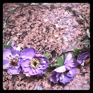 Boho Purple floral hair wreath